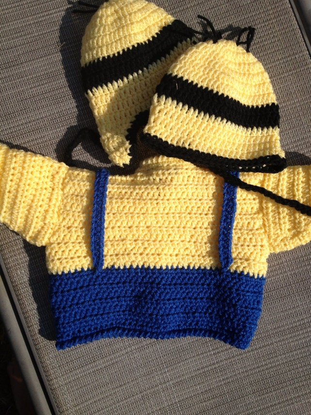 Baby Minion Sweater and Hat Set your choice fd8d8fee0401