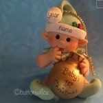 Baby's First Christmas Ornament Green, Elf Ornament, Green Elf Ornament handmade in clay