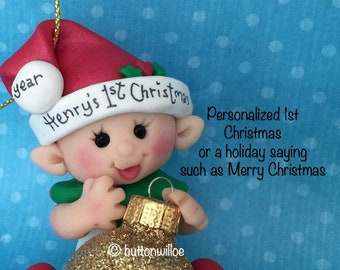Clay Baby First Christmas Elf Gold Glitter baby's 1st Personalized Christmas keepsake ornament handmade Christmas baby gnome gift box