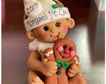 Baby with Gingerbread Baby's 1st Christmas Ornament Ethnic skin tone / Babys First Christmas Ornament / Baby with Gingerbread Cookie