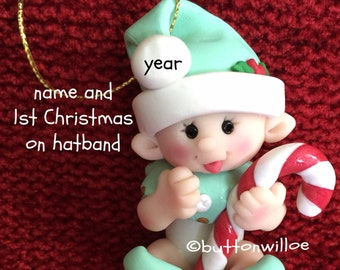 Clay Baby's First Christmas Ornament Baby's 1st Christmas Ornament Personalized boy or girl with candy cane green clothes gift box included