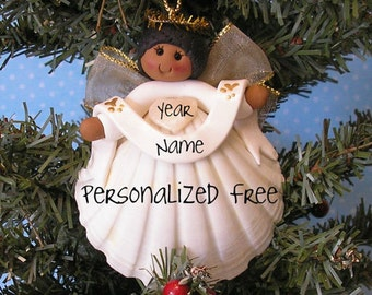 Shell Angel Brown skin tone personalized Christmas Ornament