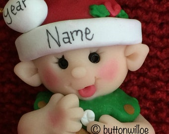 Baby's 1st Christmas First Christmas Ornament Red Elf with Gold Star Hand Sculpted Personalized Christmas Ornament Gift Box Included
