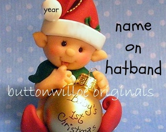 Elf in Red First Christmas Hand Sculpted Babys 1st Christmas Ornament / Personalized Sweet baby Elf