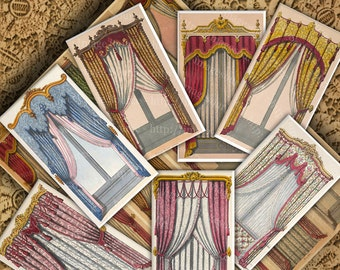 French Regency Curtains, Digital Collage Sheet , Paper Theater Backdrops,  ATC, ACEO Size Images, Backgrounds Printable Download