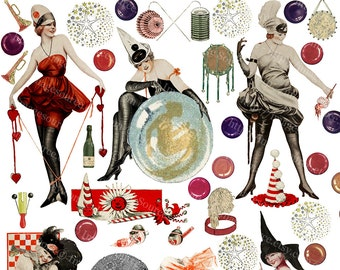 Flappers, Party Girls, Party Favors, Digital Collage Sheet Color Scrapbooking Clipart Images, Instant Printable Download