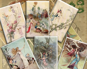 Fairy Digital Collage Sheet, Victorian Illustrations Warwick Goble, Instant  Download Fairy Tale Printables