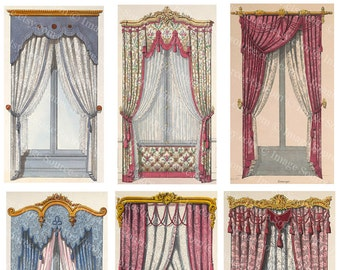 Fancy Window Curtains,  Digital Collage Sheet, Regency Era Draperies, ATC, ACEO Scrapbooking Image Backgrounds, Printable Download