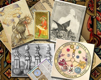 Alchemy Occult and Mysticism Symbols and Illustrations Digital Collage Sheet Instant Printable Download