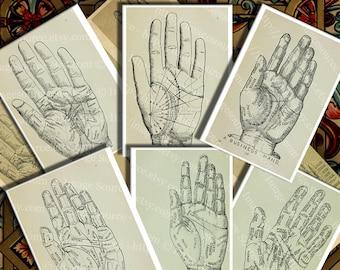 Vintage Palmistry Diagrams, Digital Collage Sheet, Instant Printable Download