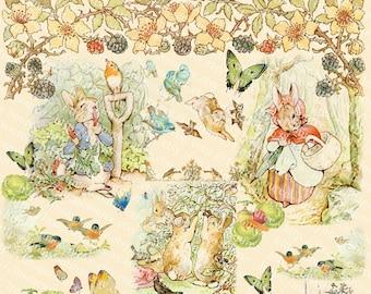 Peter Rabbit Collection Digital Collage Sheet, Beatrix Potters Art Illustrations, Instant Download, Vintage Printables