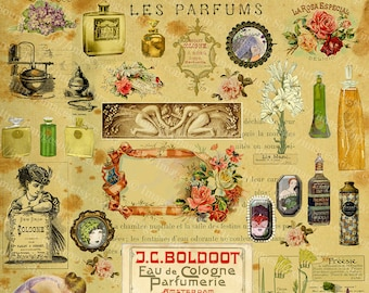 Perfume Images, Digital Collage Sheet, Printable Paper Crafts, Collage Supplies, Room Decor