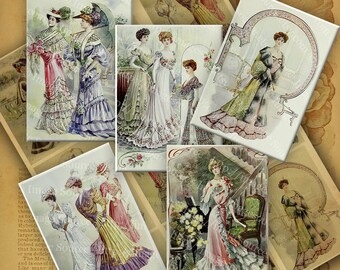 Victorian Ladies Color Illustrations, Digital Collage Sheet, ATC, ACEO size Images, Instant Printable Download