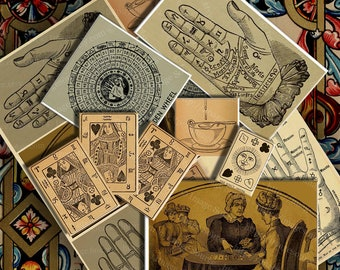 The Fortune Teller, Digital Collage Sheet, Large Images, Instant Printable Download