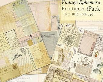 Ephemera Collection Printables Set, 3 Pages Journaling, Scrapbooking, Decoupage  Downloads