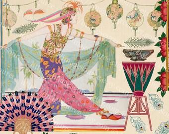 Art Deco Dancers Scrapbooking Clipart, Digital Collage Sheet, Art Nouveau Dancing Women, Printable Download