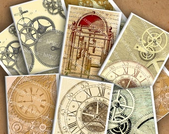 Printable Steampunk Backgrounds, Digital Collage Sheet, Clockwork and Gears,  Instant Download,  ACEO Size Images 3.5 X 2.5 in.
