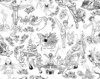 Clipart Fairies, Elves, and Gnomes, Black and White Digital Printable, Scrapbooking Arts and Crafts Download