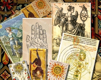 Digital Collage Sheet Alchemy Occult, Tarot and Mysticism Symbols and Illustrations,  Instant Printable Download