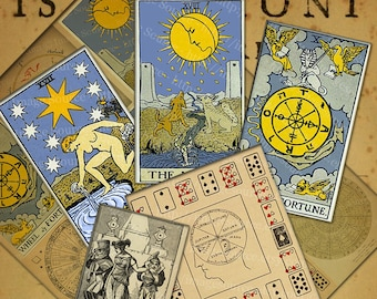 Tarot Symbols and Illustrations, Digital Collage Sheet, Mysticism Occult Instant Printable Download