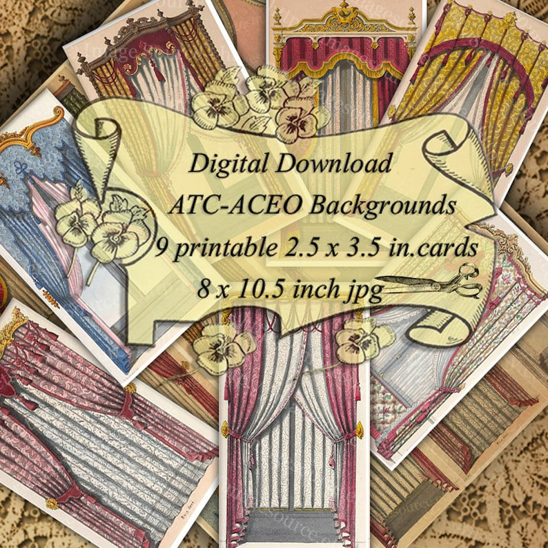 Curtains French Regency Paper Theater Backdrops, Digital Collage Sheet,  ATC, ACEO Size Images, Backgrounds Printable Download