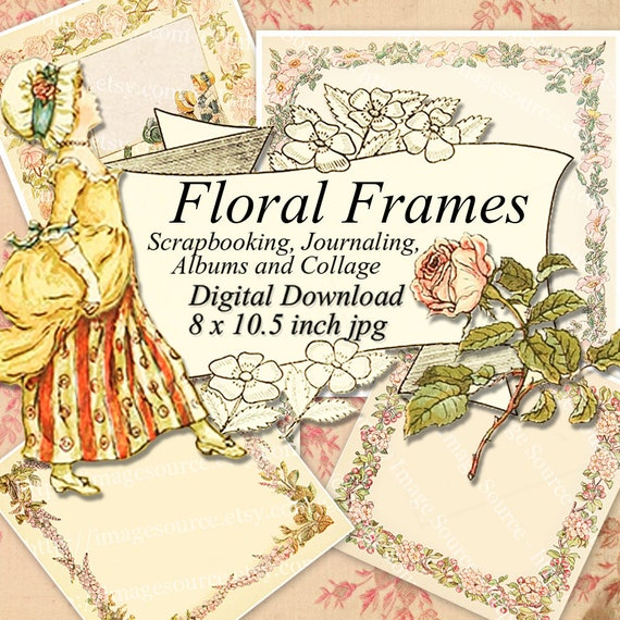 Floral Frames Scrapbook Papers Storybook Edges Junk Journal Etsy