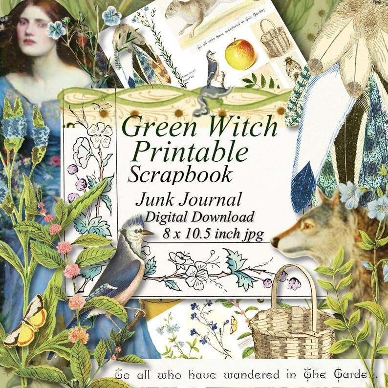Green Witch Grimoire Printables Scrapbook Paper Digital Collage Sheet Instant Download Junk Journal
