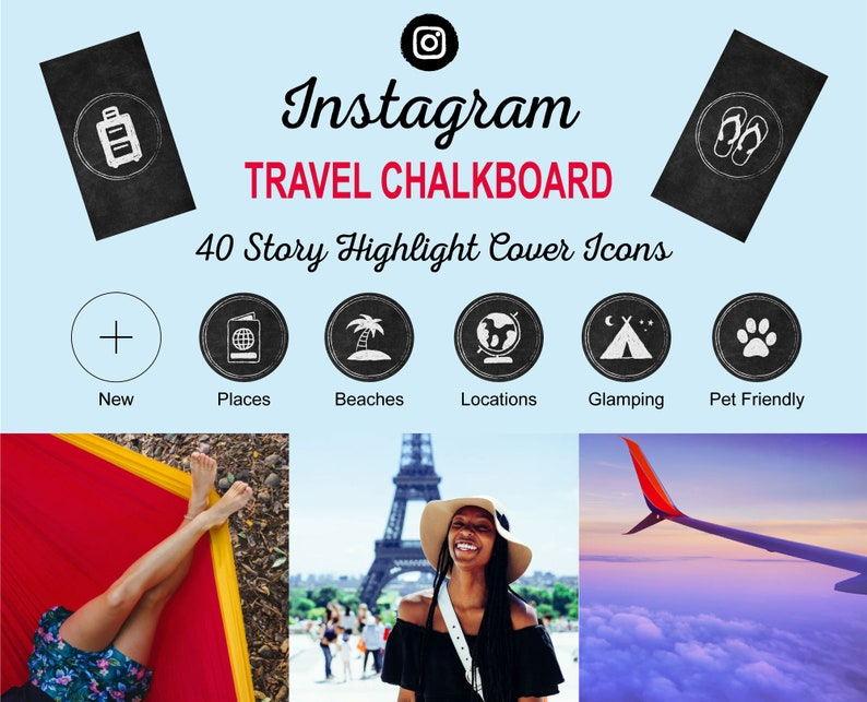 TRAVEL Chalkboard Instagram Story Highlight Icon Covers  image 0