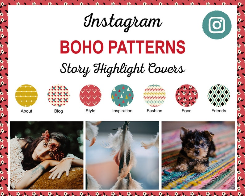 Boho Patterns Instagram Story Highlight Covers  12 Ready to image 1