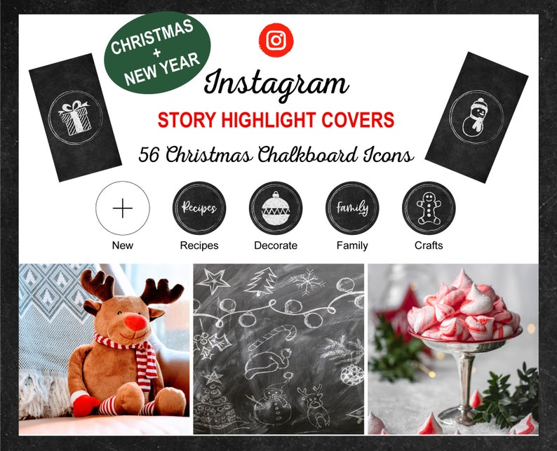 Christmas Chalkboard Instagram Story Highlight Icon Covers  image 0