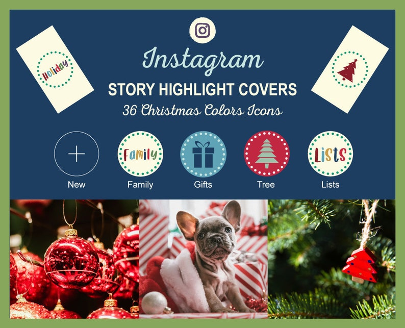 Instagram Story Highlight Icon Covers  Christmas Colors  image 0