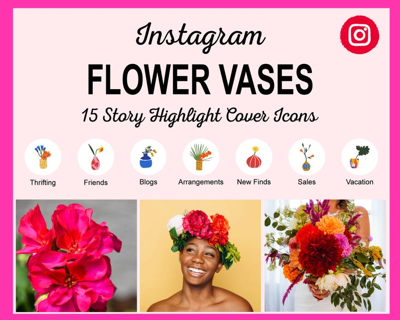 15 Flower Vases Instagram Story Highlight Covers  Ready to image 0