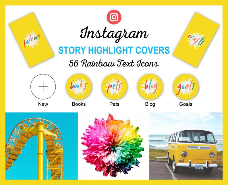 Instagram Story Highlight Icon Covers  Yellow & Rainbow Text image 0