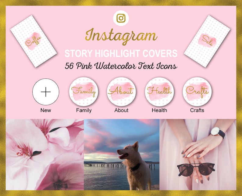 Instagram Story Highlight Icon Covers  Pink Watercolor  image 0