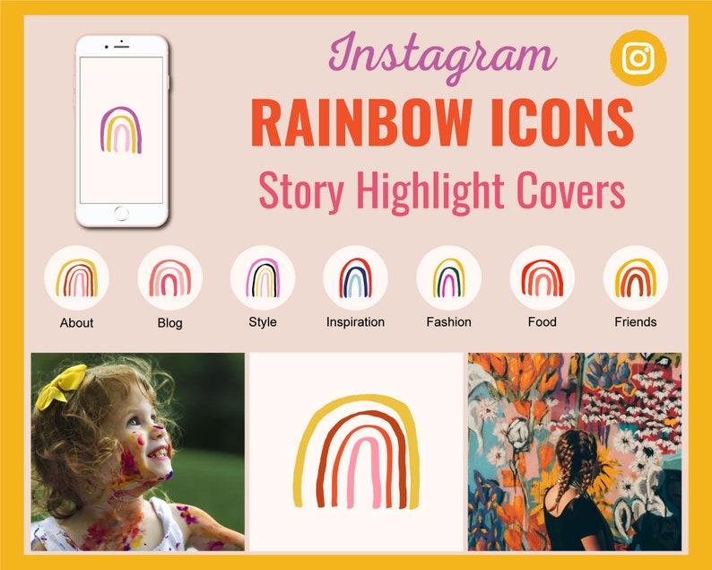 12 Rainbow Instagram Story Highlight Cover Icons  Ready to image 0