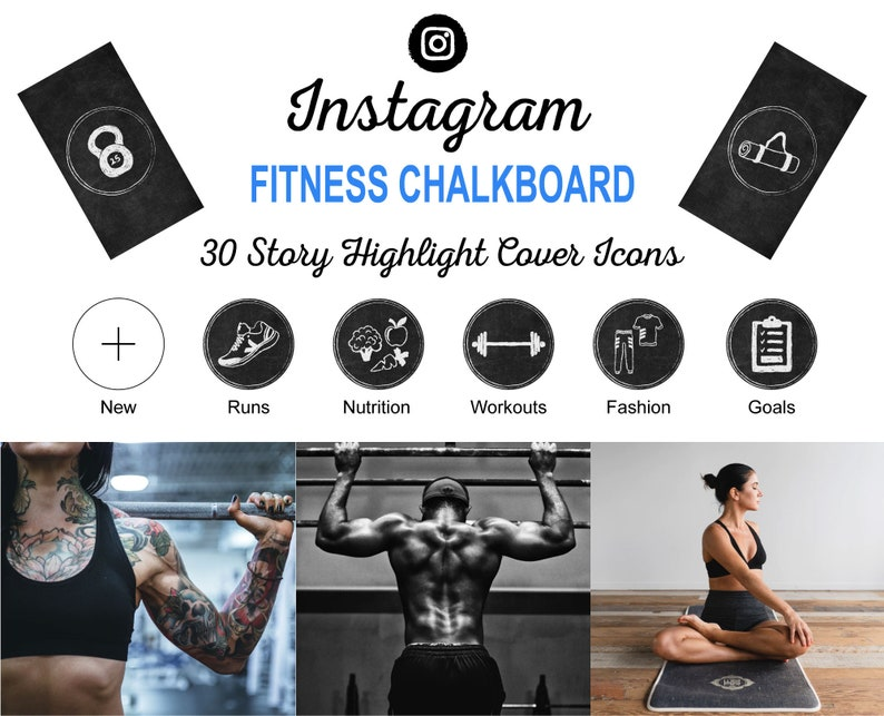 FITNESS Chalkboard Instagram Story Highlight Icon Covers  image 0