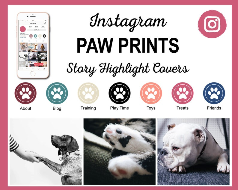 Paw Print Color Scheme Instagram Story Highlight Covers  24 image 0