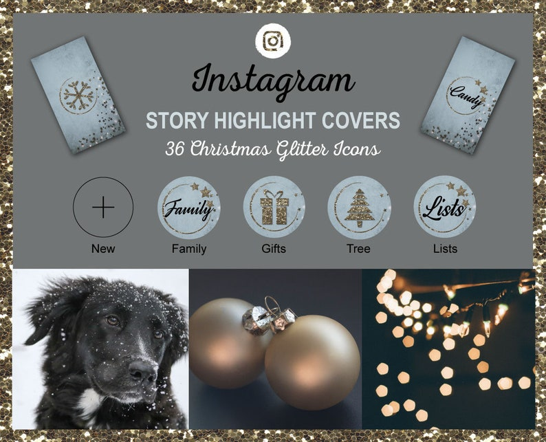 Instagram Story Highlight Icon Covers  Christmas Glitter  image 0