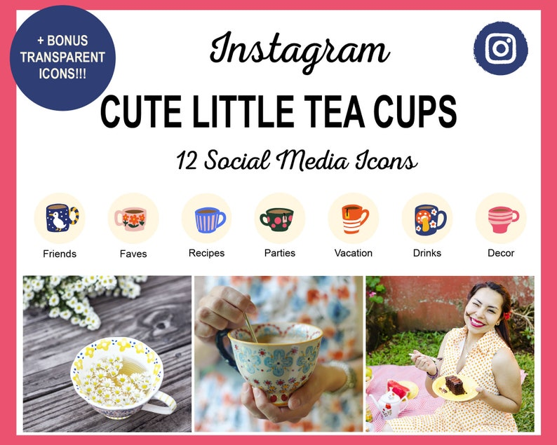 12 Cute Tea Cup Instagram Story Highlight Cover Icons  Ready image 1