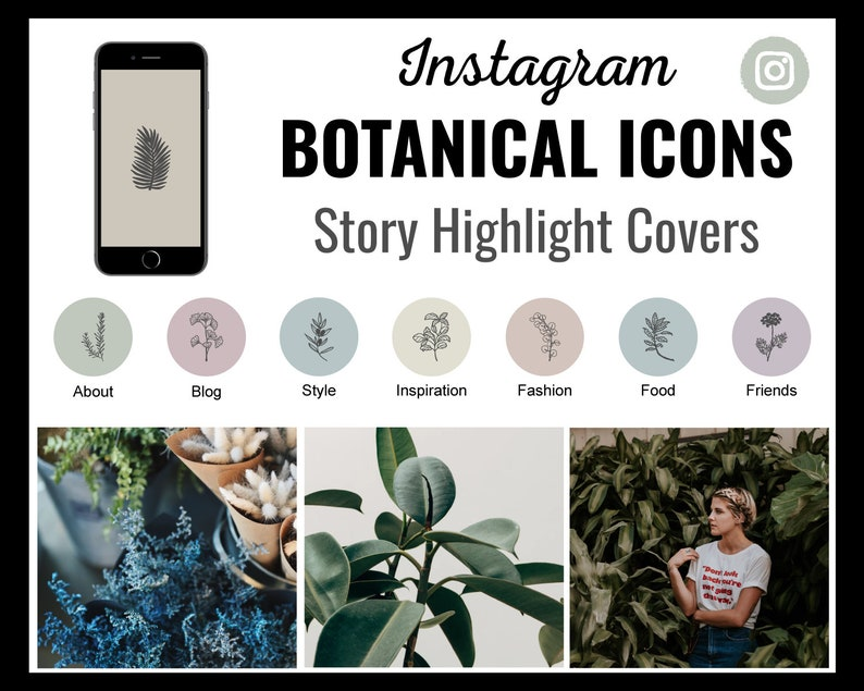 96 Botanical Instagram Story Highlight Covers  Ready to Use image 0