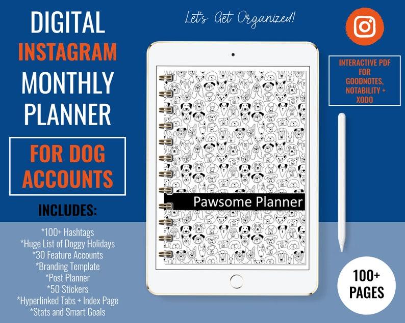 Instagram Digital Planner for Dog Accounts  Hyperlinked image 0