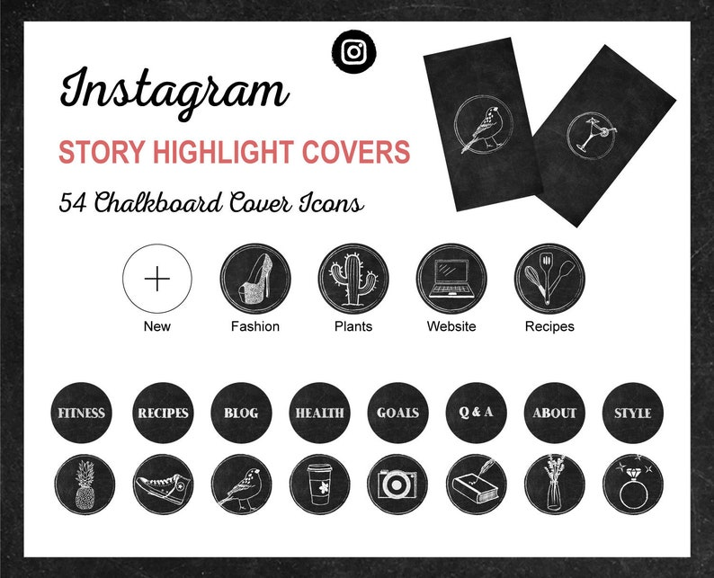 Instagram Story Highlight Icon Covers  Chalkboard Style  image 0