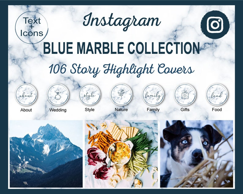 Blue Marble Instagram Story Highlight Icon Covers  106 Navy image 1