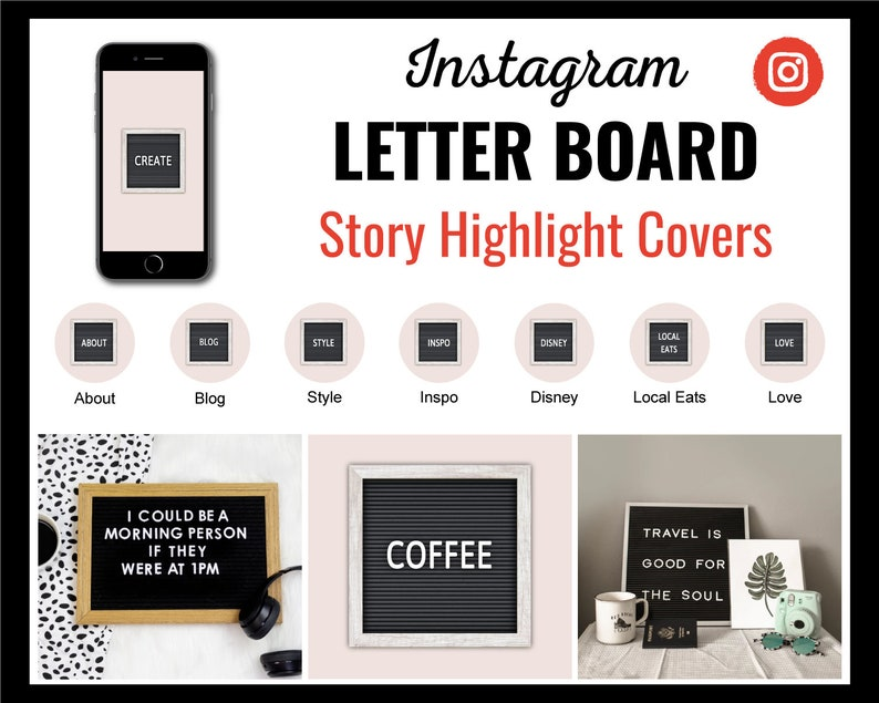 Instagram Story Highlight Icon Covers  75 Letter Board Text  image 0