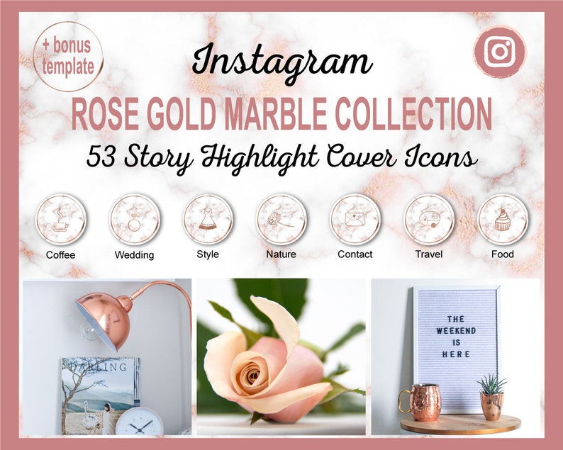Rose Gold Marble Instagram Story Highlight Icon Covers  53 image 0