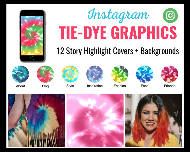 12 Tie-Dye Instagram Story Highlight Covers  Backgrounds  image 0