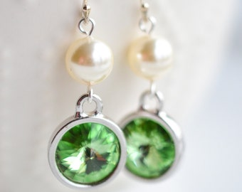 August Birthstone Peridot Crystal and Pearl Silver Earrings
