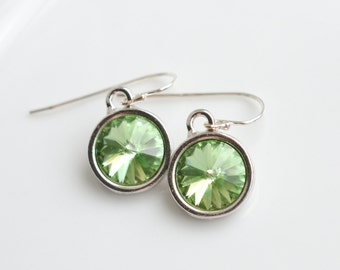 August Birthstone Peridot Crystal Silver Earrings