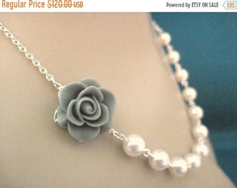 ON SALE Bridesmaid Jewelry Set of 6 Gray Rose and Pearl Bridal Necklaces