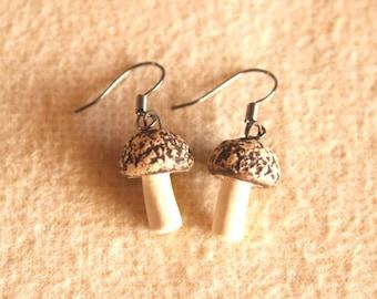 Tiny Ceramic MUSHROOM Earrings - Handmade Textured & Stained Porcelain Mushroom Fungi Earrings - Ready To Ship
